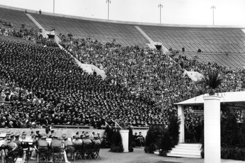 1932 commencement with graduates in stands