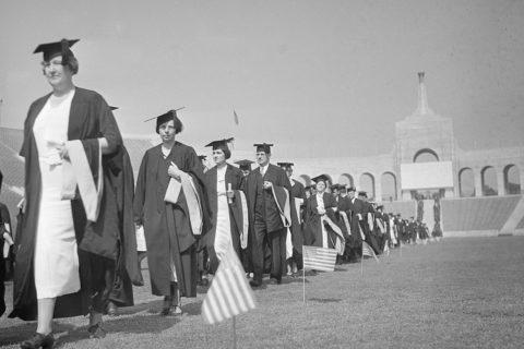Class of 1935 USC graduates march at Coliseum
