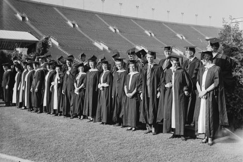 1935 USC graduation photo at Coliseum