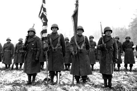 Soldiers of the Japanese American 442nd Regimental Combat Team in Bruyères, France