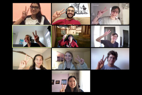USC students showing victory sign in Zoom meeting