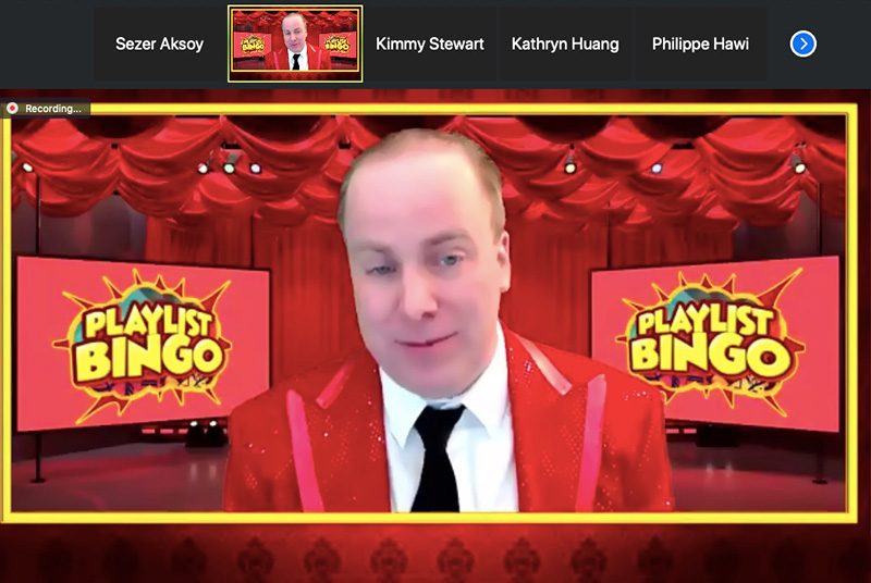 A screenshot of the host of a bingo event held for USC students