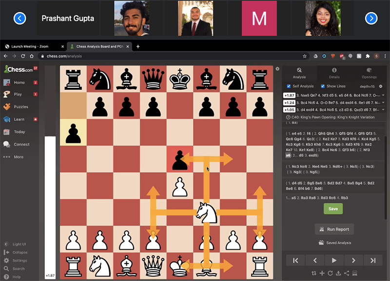 A screenshot of an online chess match with a chess board and players