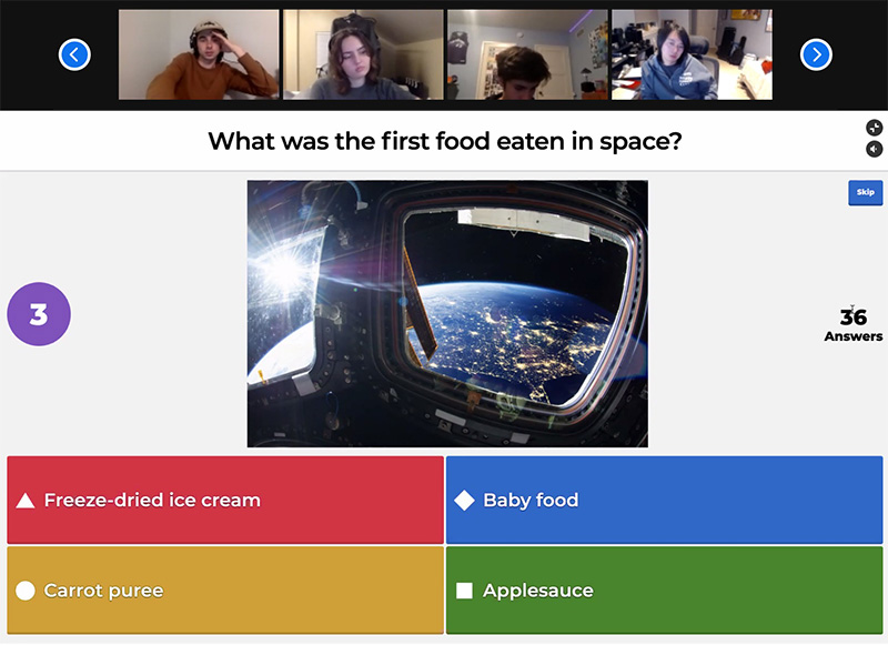 A screenshot of USC students playing a trivia game on the online Kahoot platform