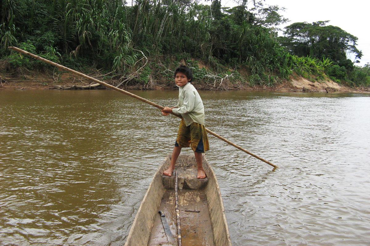 Tsimane child in boat