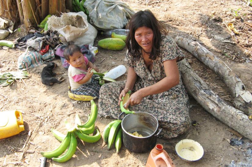 Tsimane woman and child