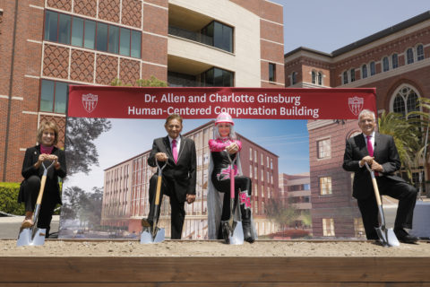 Groundbreaking with Carol L. Folt, Allen and Charlotte Ginsburg, and Dean Yannis Yortsos
