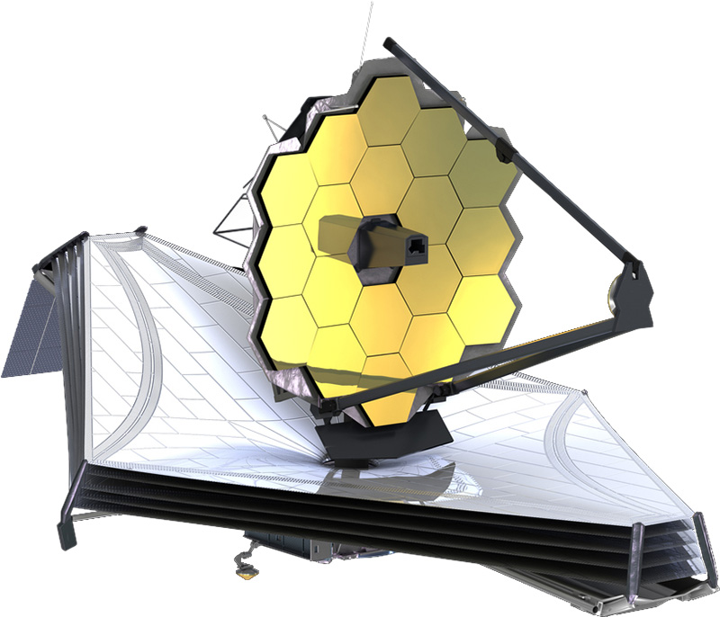 A 3D illustration of the James Webb Space Telescope with its 6.5-meter sunshield fully open