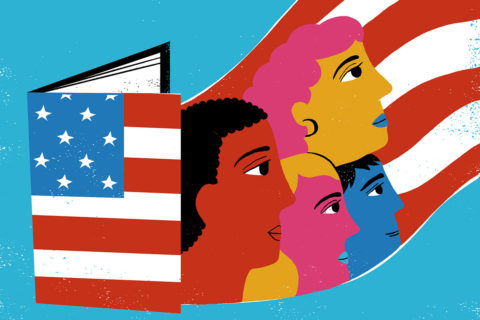 An illustration of a book with the American flag on the cover opening and four students floating out of it along the red and white stripes
