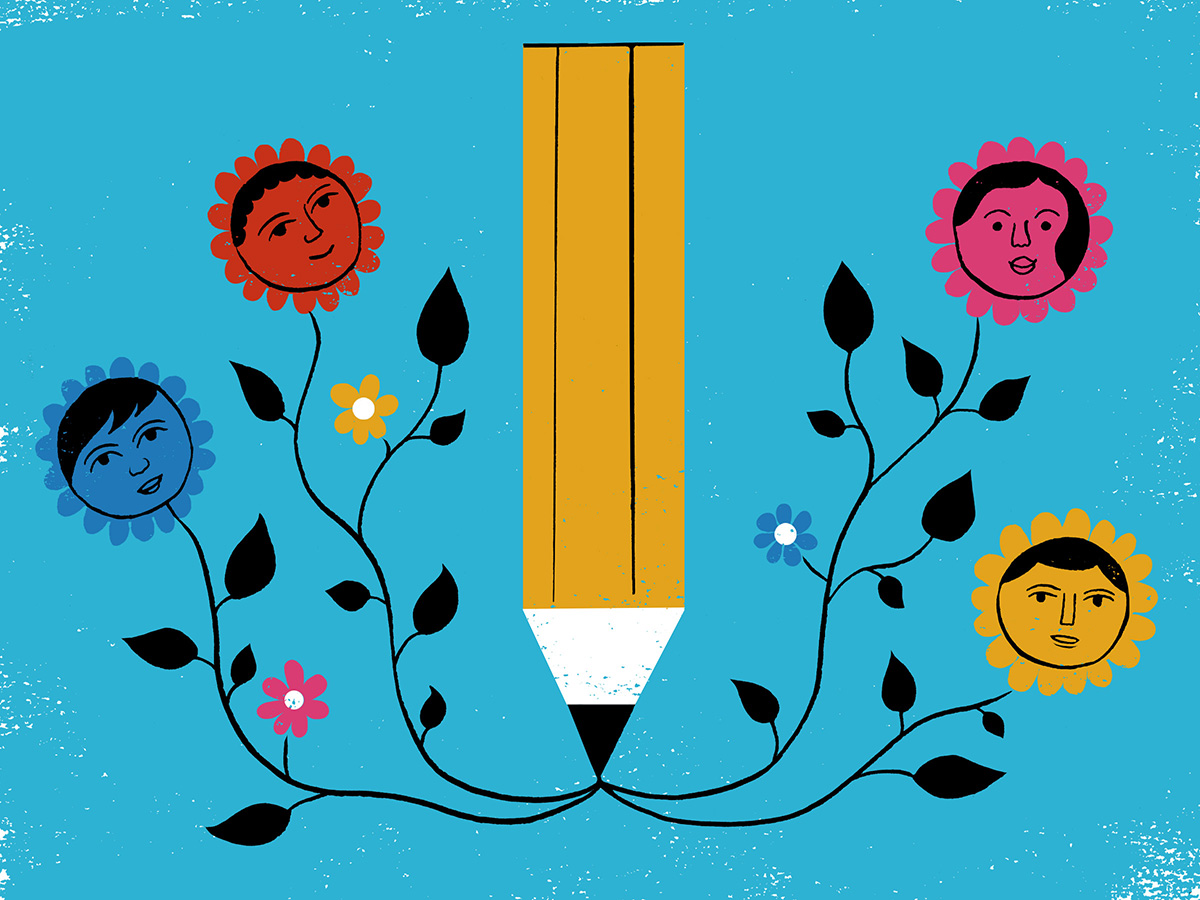 An illustration of pencil that is drawing pictures of children growing among plants