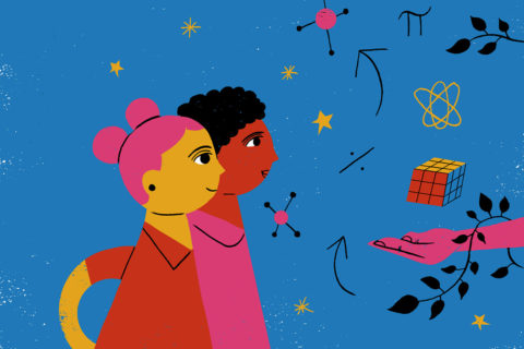 An illustration of two girls following an open hand and looking at floating patterns and symbols in the air