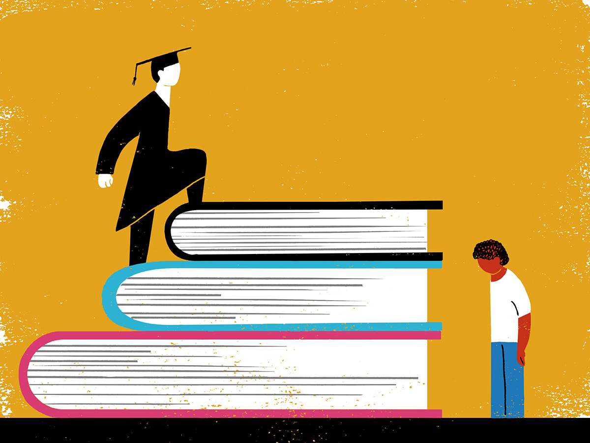 An illustration of a student in a graduation gown climbing a staircase of books while another student is left behind unable to climb onto the books