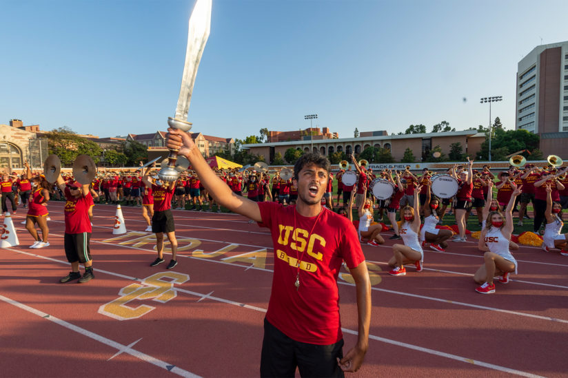 Trojan traditions: Drum major Niven Jayanthi at spirit rally