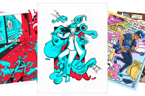 A collage of comics scenes by Isabella Melendez and Knox Lopez, including a scientist in aquamarine and red tones and a guitarist with blue hair and a shiny blue guitar