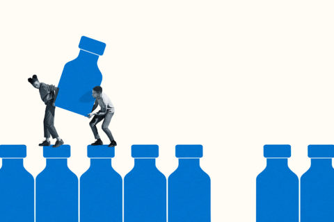 Illustration of a man and a woman carrying a large blue vaccine bottle between them as they walk along the tops of other bottles