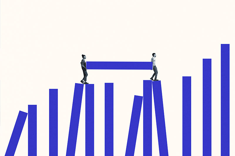 Illustration of a woman and a man carrying a blue bar between them as they climb other blue bars arranged like a graph