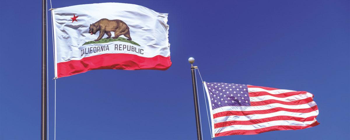 California gubernatorial recall vote: State and U.S. flags