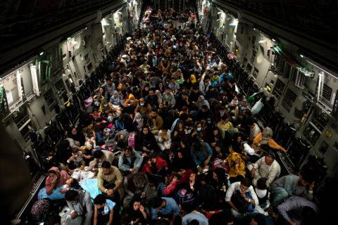 Crowded plane leaving Afghanistan