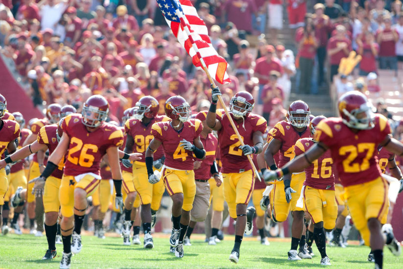 USC players mark the 10th anniversary of the 9/11 attacks in 2011