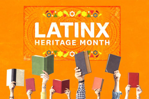Latinx Heritage Month logo with books