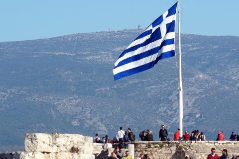 Greek flag over the Acropolis