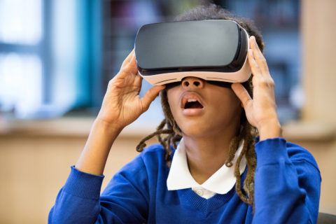 Child using a VR device