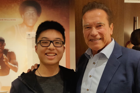 Victor Qiu and Arnold Schwarzenegger
