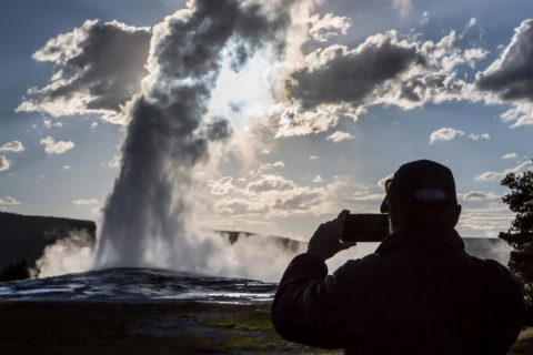 National parks class: Old Faithful at Yellowstone