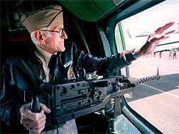 Louis Zamperini in cockpit