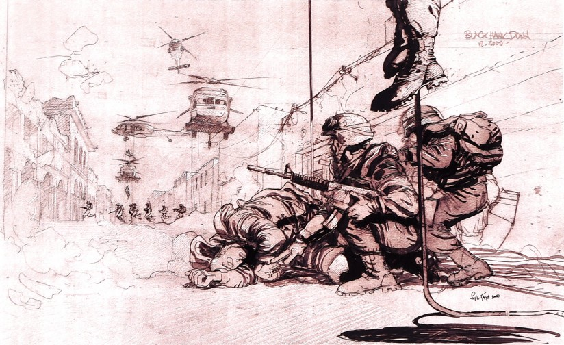 Black Hawk Down: Scott is known for using sketches to visualize scenes. This one comes from his 2001 movie about the Battle of Mogadishu.
